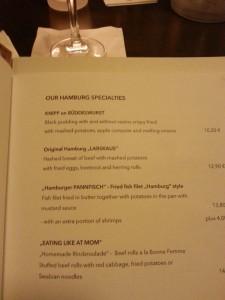 Labskaus in the menu